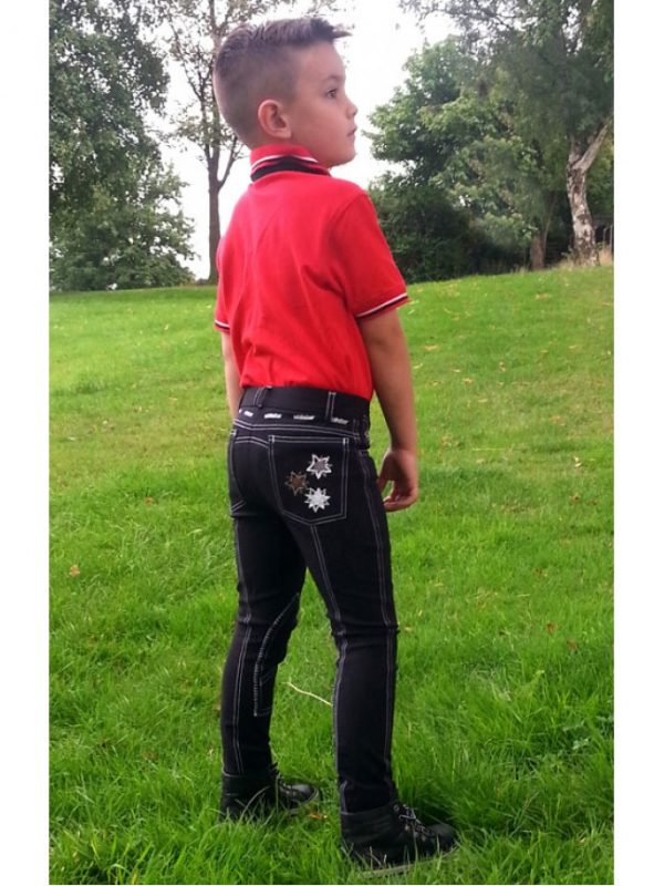 kids star breeches black white red navy