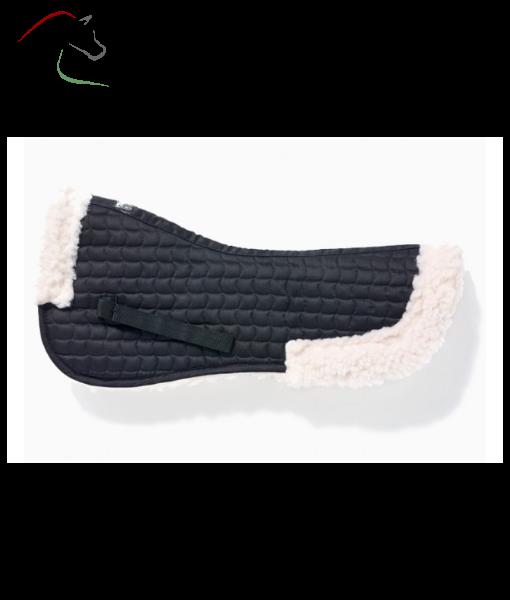 John whitaker faux sheepskin half pad in black and natural colur