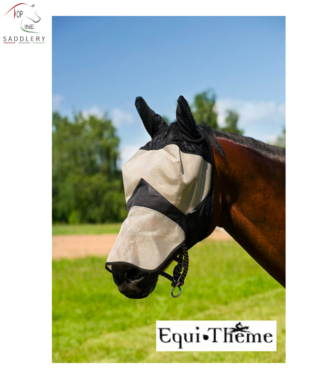 equi theme full face fly mask in beige and black. thick mesh so mask holds it's shape. covers muzzle and ears